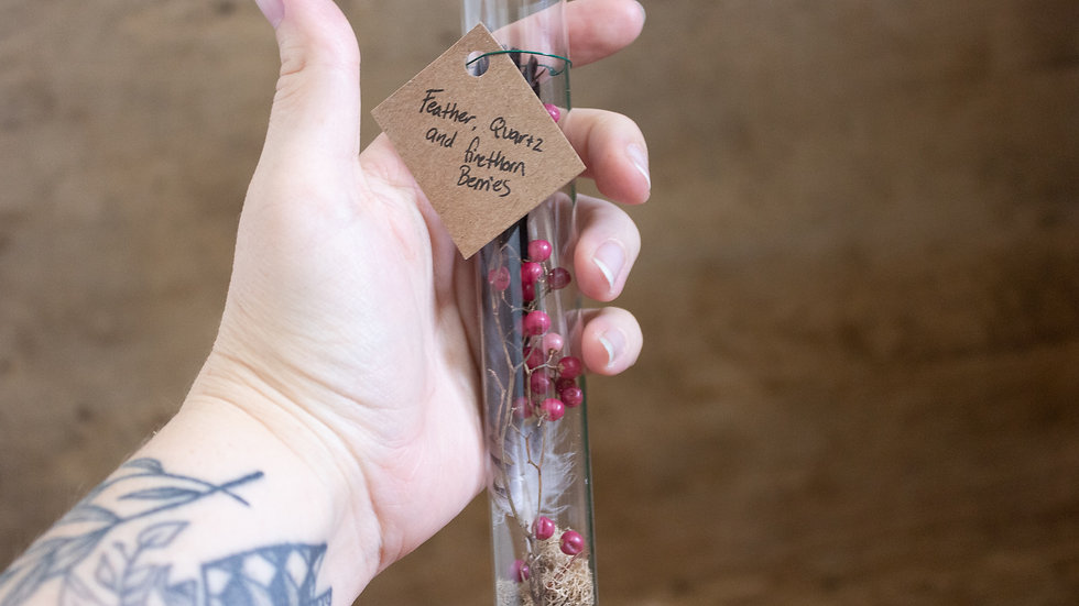 Oddities Vial- Preserved Feather, Firethorn Berries, and Quartz