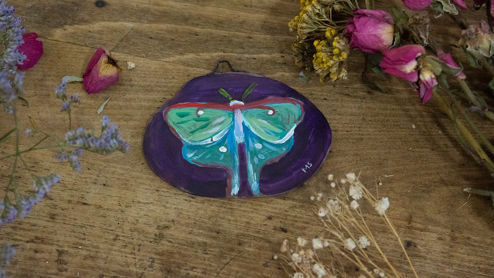 "Original Art on Agate Slices- ""Luna Moth 01"""