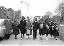 THE DEAN FAMILY BUYING THEIR EASTER SHOES. FROM LEFT, WALTER, RUTH, ANNETTE, PATRICIA, RANSOM, DELOR