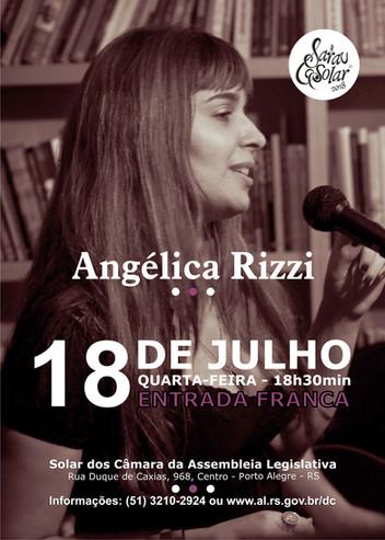 Angélica Rizzi é atração do Sarau do Solar da Assembleia no dia 18 de julho