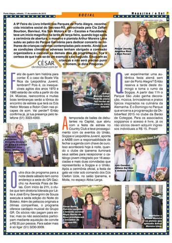 Angélica Rizzi na coluna de César Krob no jornal O Sul