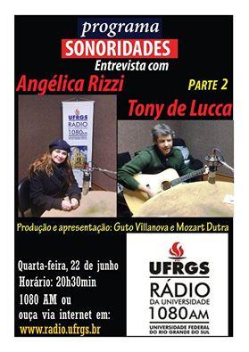 Angélica Rizzi no Sonoridades desta quarta na Radio da Universidade