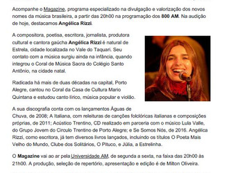 Angélica Rizzi ganha destaque nesta segunda 14 de maio no programa Magazine da Rádio Universidade
