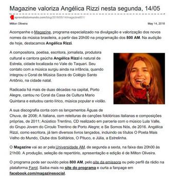 Magazine valoriza Angélica Rizzi nesta segunda, 14/05