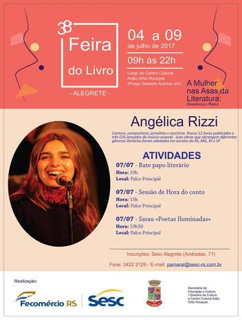 Angélica Rizzi participa da 38ª Feira do Livro de Alegrete no dia 7 de julho