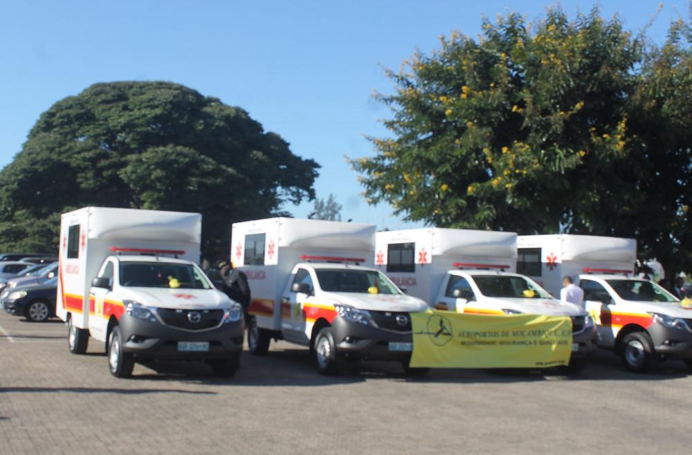 Recepção de ambulâncias para os aeroportos