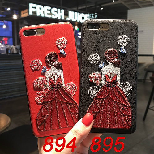iPhone 6/78/X tpu soft case with embroidered pattern 894 895