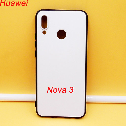 Huawei Nova 3 soft black tpu phone case with white printable back