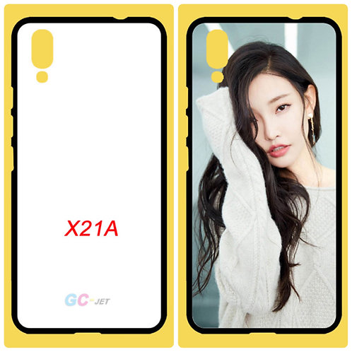 vivo X21A black tpu soft mobile case with white printable back