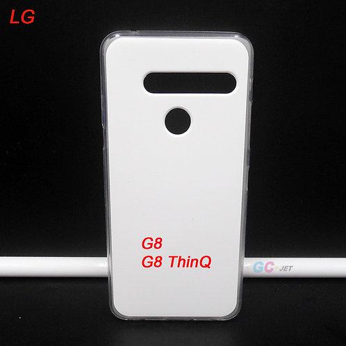 LG G8 ThinQ blank soft tpu phone case transparent side white printable back