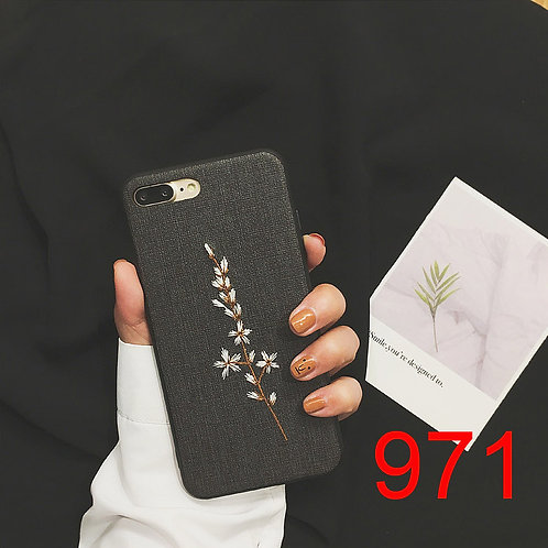iPhone 6/78/X soft tpu case with embroidered pattern 971 972