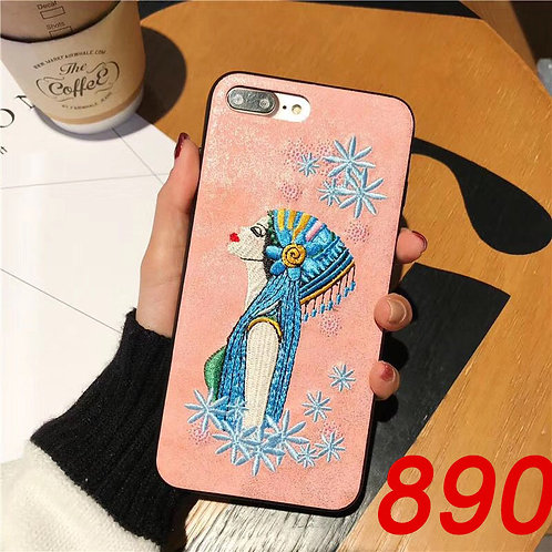 iPhone 6/78/X tpu soft case with embroidered pattern 890 891