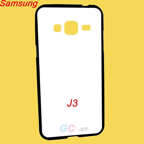 Samsung Galaxy J3 black edge and white printable back tpu soft phone case