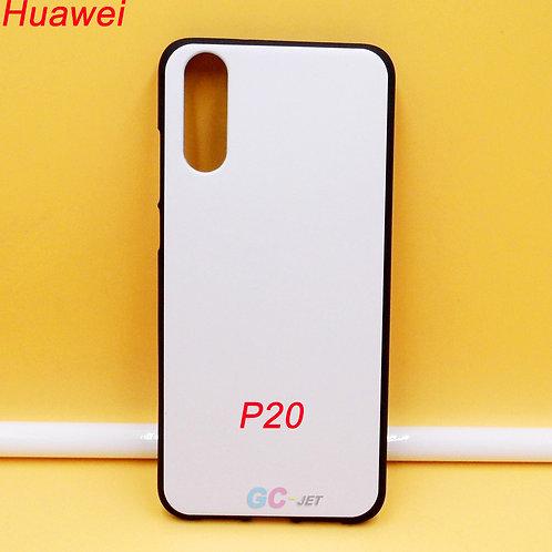 Huawei P20 black side tpu soft phone case with white printable back