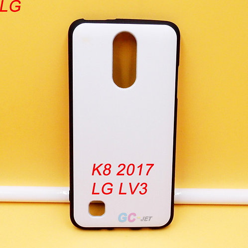 LG K8 2017 / LV3 black edge tpu soft phone case with white printable back