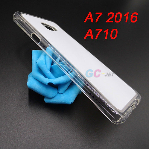 Galaxy A7 2016 transparent edge and white back surface tpu phone case