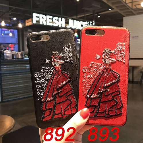 iPhone 6/78/X tpu soft case with embroidered pattern 892 893