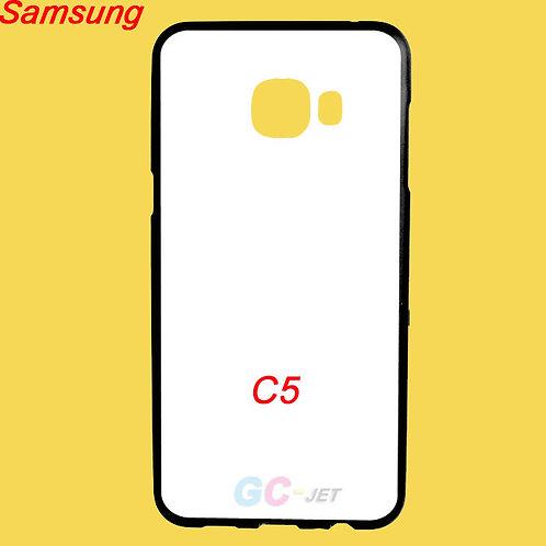 Samsung Galaxy C5 black edge and white printable back tpu soft phone case
