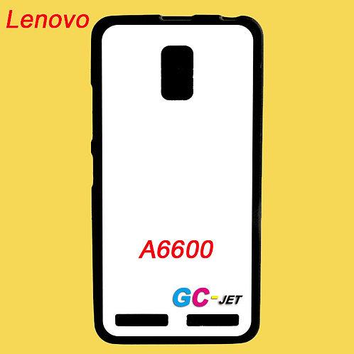 Lenovo A6600 black edge and white printable back tpu soft phone case