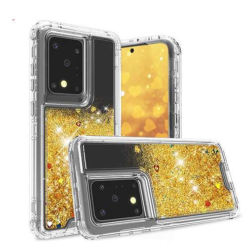 glitter liquid quicksand combo phone case for galaxy S20 ultr