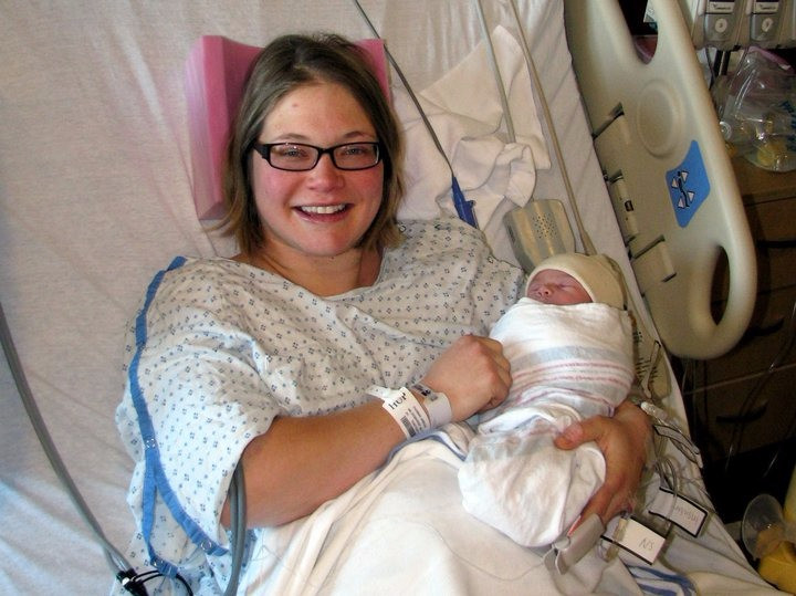 Holding my new firstborn son, Ethan Michael.