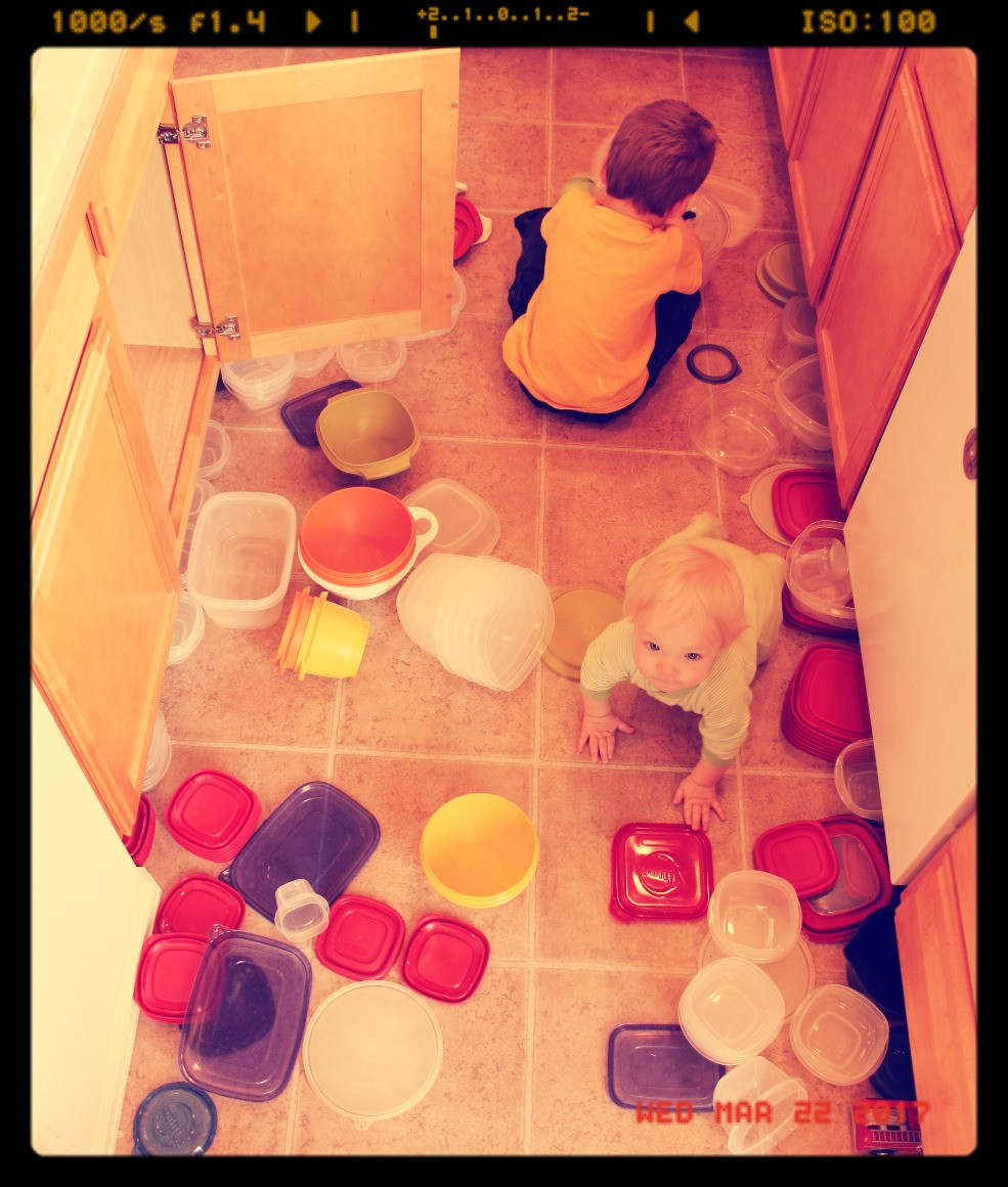 SAHM activities...re-organizing the cabinets for no good reason at all.