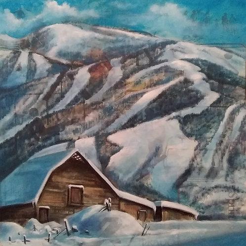"""More Barn in Winter"" 18 x 18"