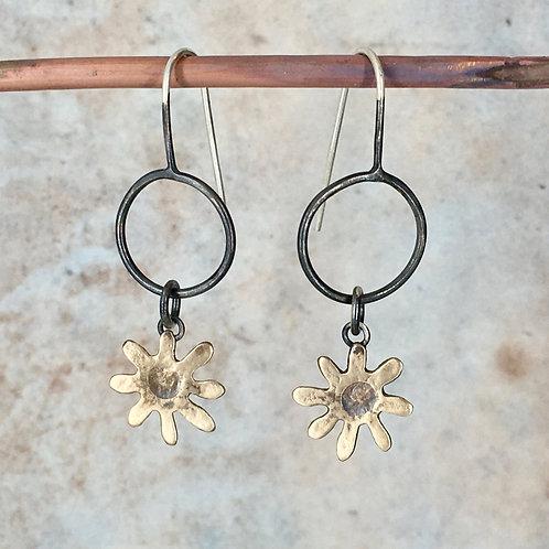 Bronze daisy on a hoop drop earring