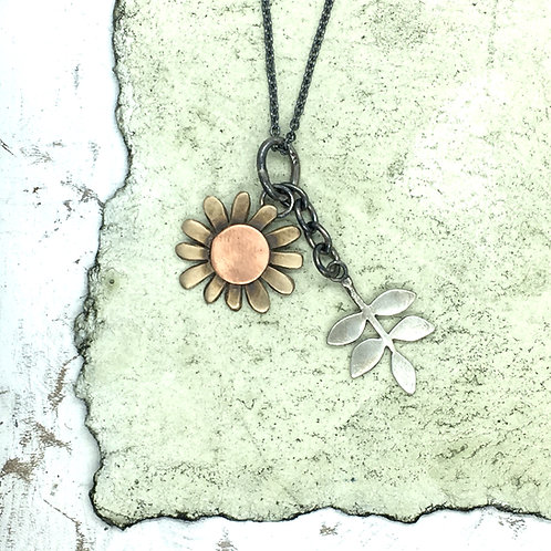 Large bronze daisy and leaf pendant
