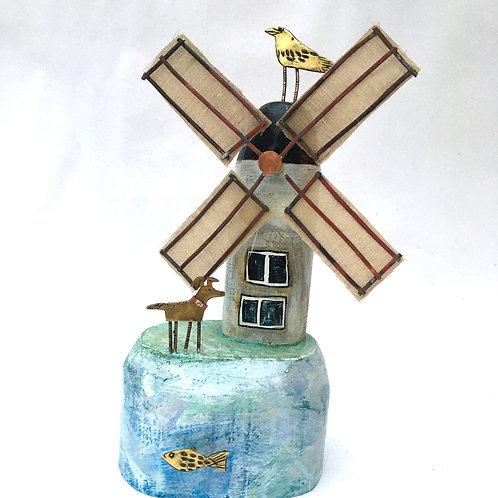 Windpump with fabric sails.