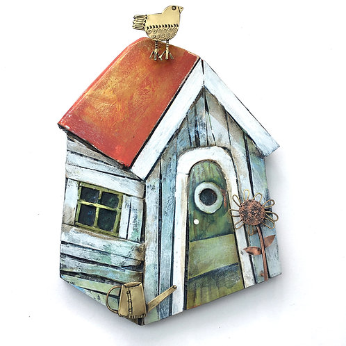 Garden Shed wall piece with red roof (Small)