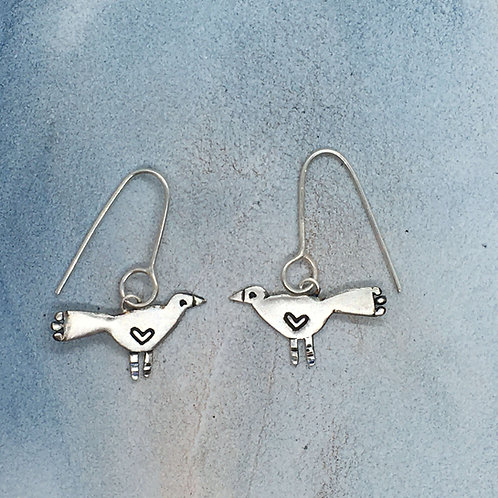 Blackbird bird drop earrings in silver