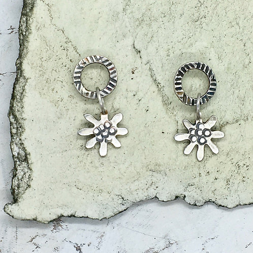 Small daisy drop ear stud
