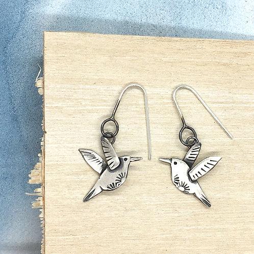 Hummingbird drop earrings in silver