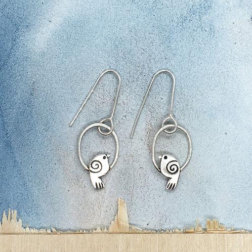Flycatcher bird drop earrings