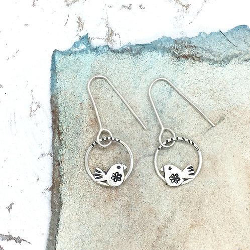 Bunting bird drop earrings