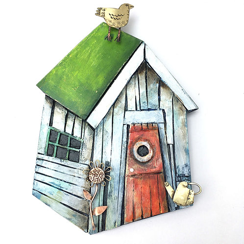 Garden Shed wall piece with green roof (Small)