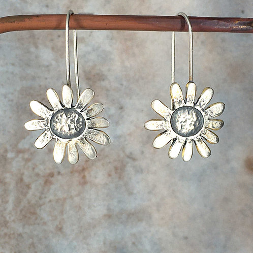 Large embossed daisy long drop earrings - silver