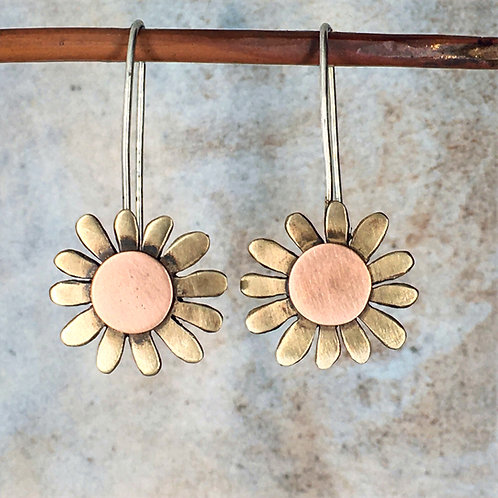 Large daisy long drop earrings - bronze