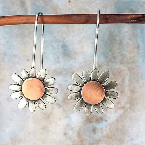 Large daisy long drop earrings - silver