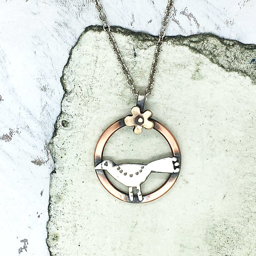 Blackbird pendant - silver