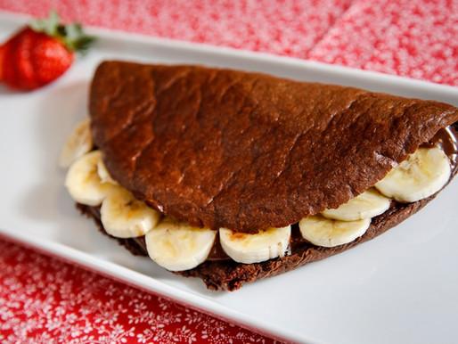 Crepioca de banana e chocolate
