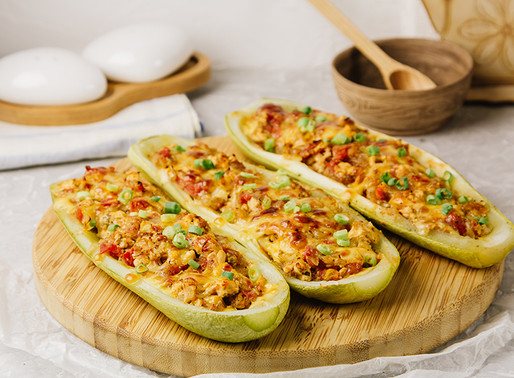 Curgete recheada com carne e legumes