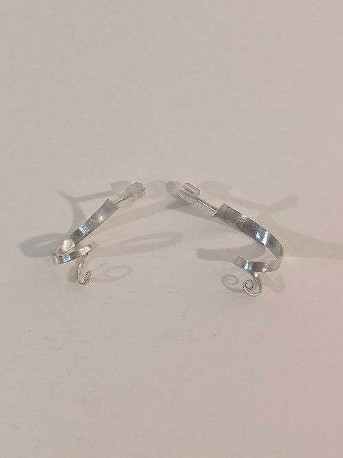 Sterling silver curly stud earrings