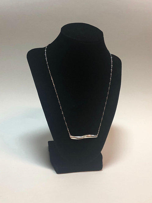 Solid Silver spiral horizontal maze w/ Silver chain  (Made To order)