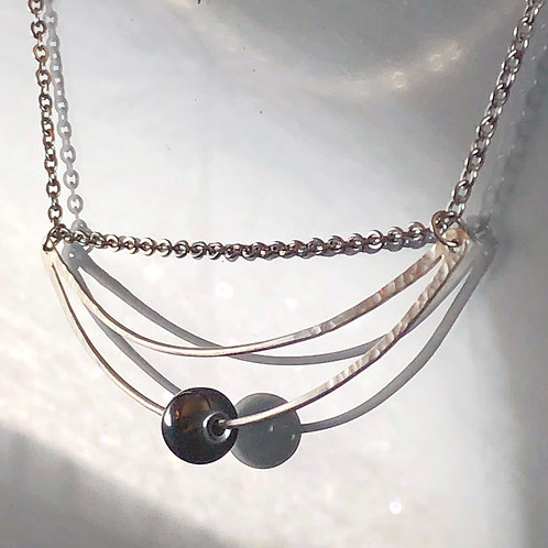 Solid Silver & Hematite (w/ stainless steel chain)