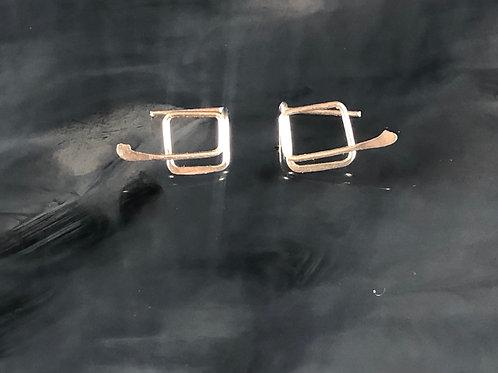 Silver Square Loop Hook earrings