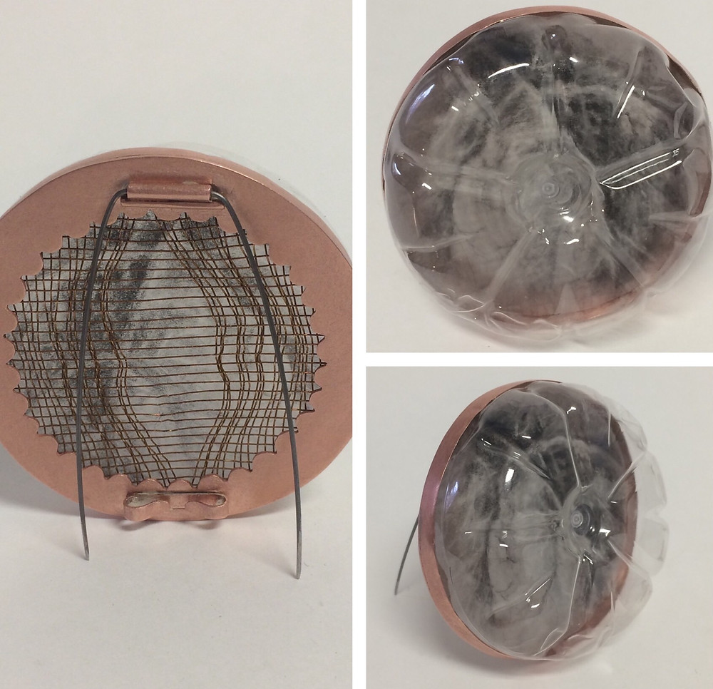 Copper, Copper mesh, vellum, charcoal, plastic bottle, piano wire