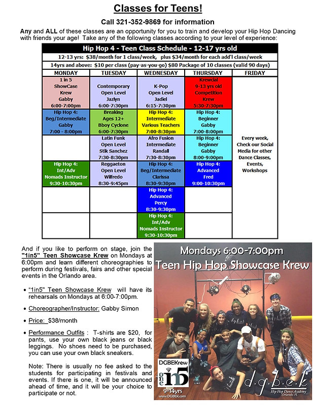 Teens & Showcase Overview Schedule April