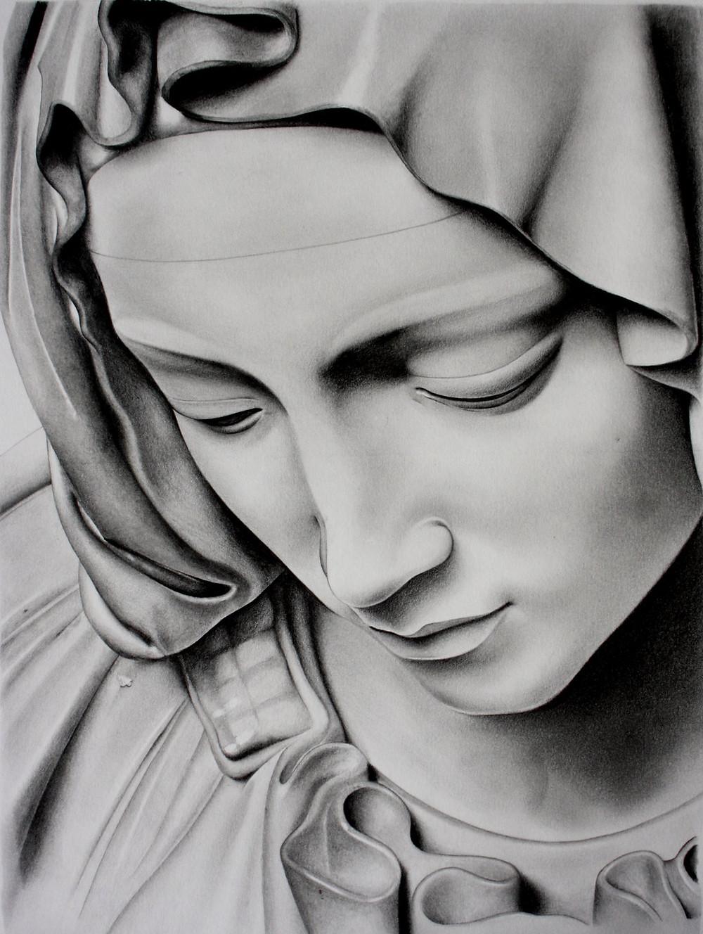 Pietà Face of Mary. Gibraltar Catholic Youth.